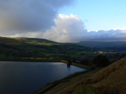 Looking across Cowpe Reservoir towards Cowpe Lowe