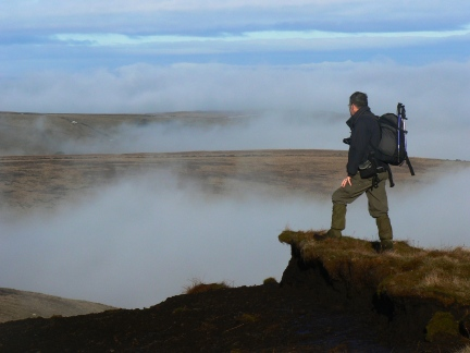 Dave looking across the mist to Scholes Height