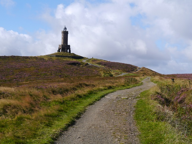 Approaching the Jubilee Tower on Darwen Hill
