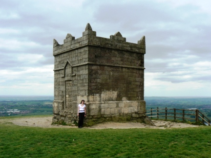 Lisa stood by Rivington Tower