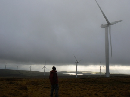 Looking across at Scout Moor Wind Farm from Whittle Hill