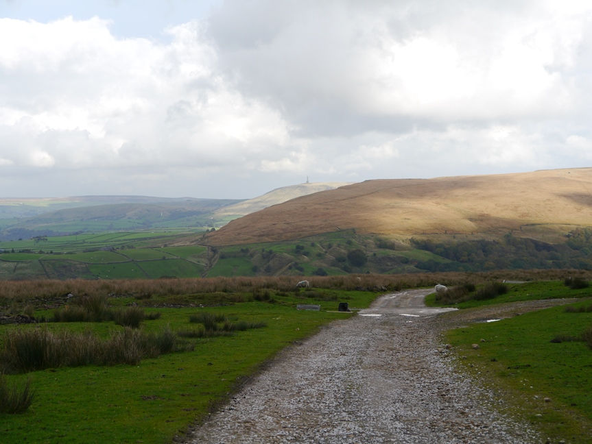 Looking down Calderdale towards the monument on Stoodley Pike