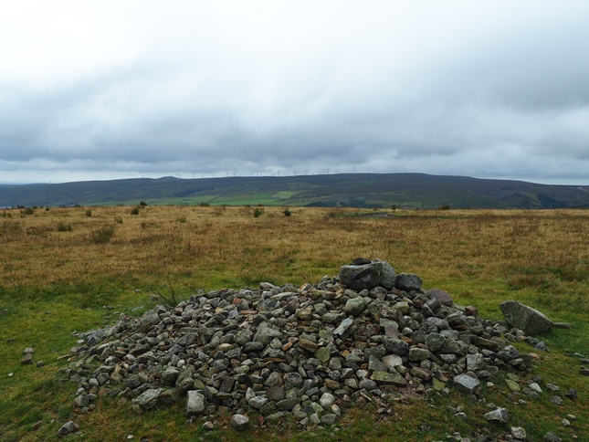 The sprawling cairn on the top of Brown Wardle Hill