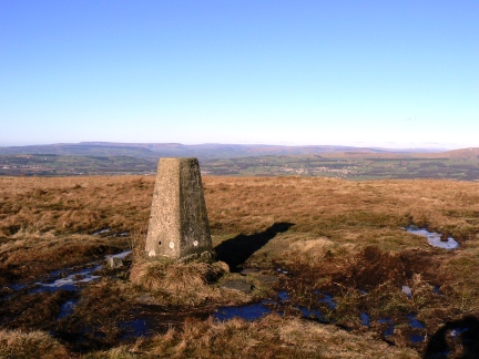 The trig point at the top of Great Hameldon