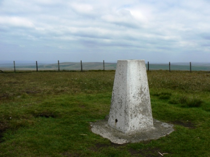 The trig point on the top of Winter Hill