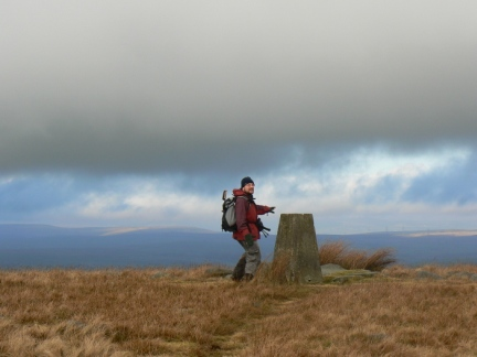 Not quite beating my camera timer to the trig point